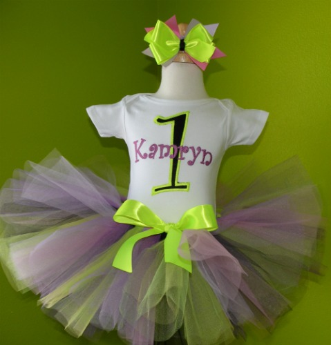 Personalized Neon Green and Purple Birthday Tutu Outfit