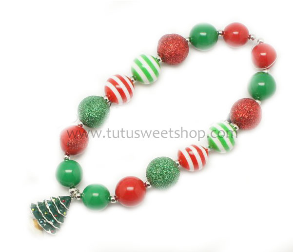 Deck The Tree Gumballs Holiday Chunky Girls Necklaces
