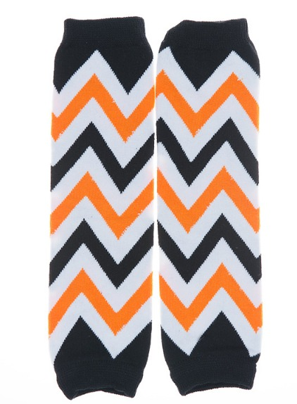 Orange and Black Chevron Kids Halloween Legwarmers