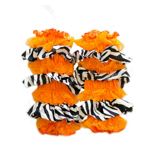 Orange Zebra Print Lace and Ruffled Legwarmers
