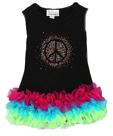 Glitter Peace Sign Ruffled Dress