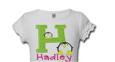 Initial Penguin Personalized Kids Birthday Shirts
