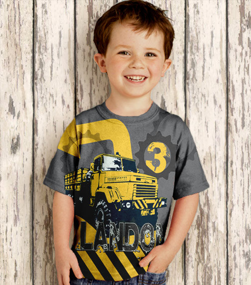 Personalized Boys Construction Birthday T-Shirt