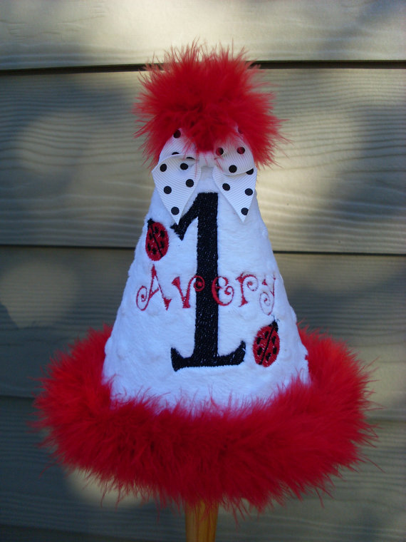 Personalized Ladybug Birthday Party Hat