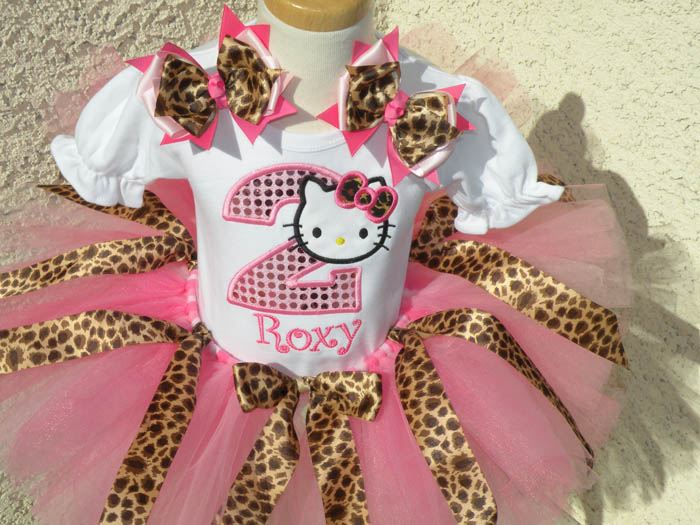 Personalized Leopard Print Kitty Birthday Outfit For Girls