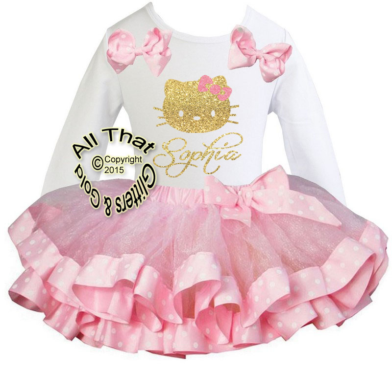 Personalized Pink Polka Dot and Glitter Hello Kitty Satin Ribbon Birthday Tutu Outfits
