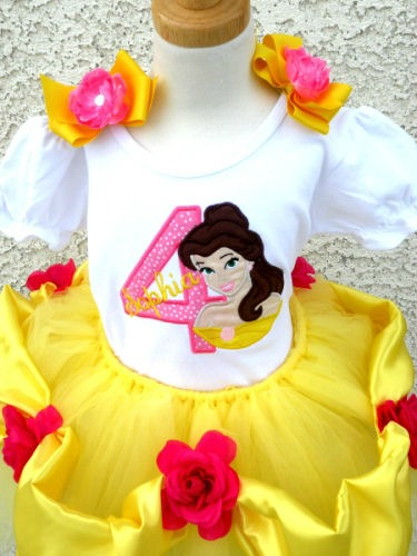 Personalized Princess Belle Birthday Age Tutu Outfits