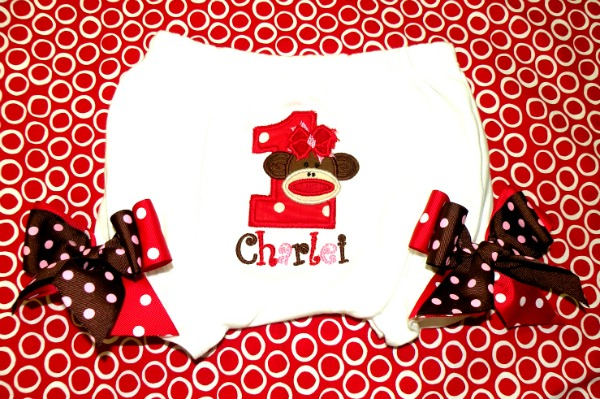 Personalized Red Sock Monkey Diaper Covers