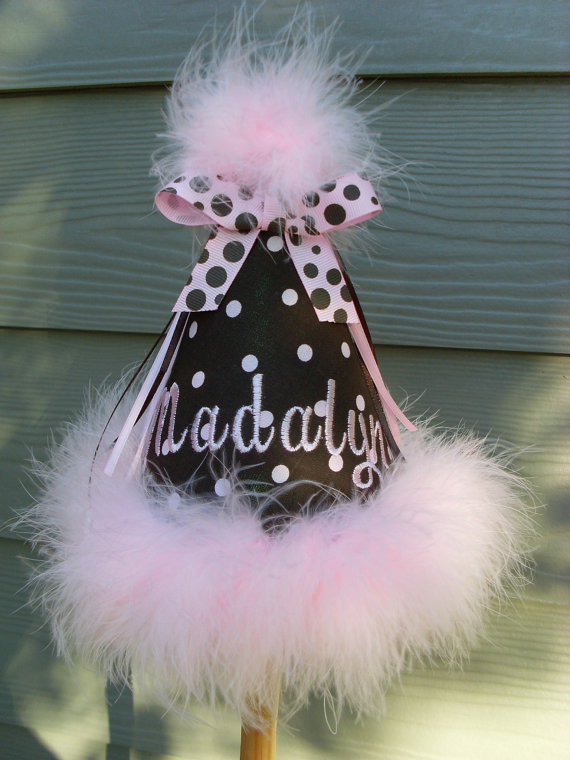 Personalized Brown and Pink Polka Dot Birthday Hats