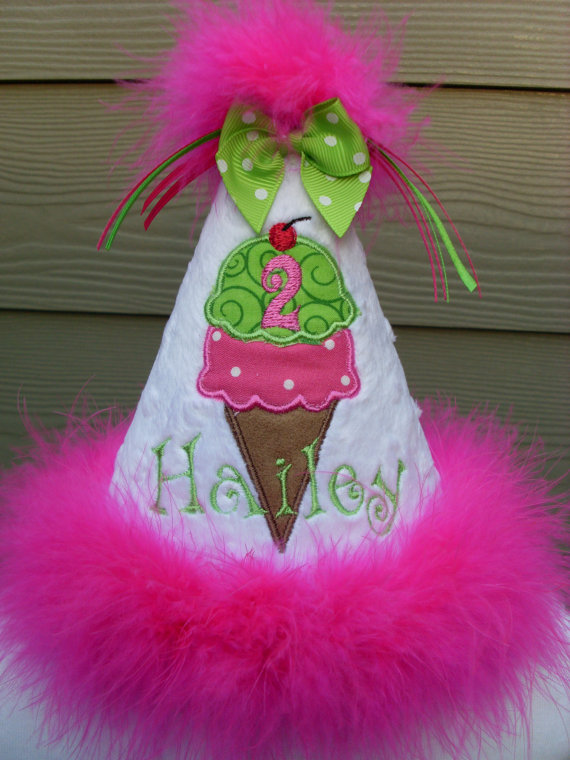 Personalized Ice Cream Cone Birthday Party Hat