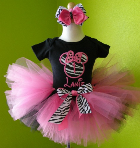 Personalized Pink and Black Zebra Print Minnie Birthday Tutu Outfit
