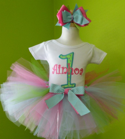 Personalized Aqua Lavender and Pink Birthday Tutu Outfit