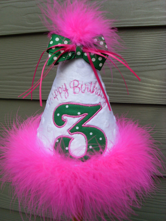 Personalized Pink and Green Dot Birthday Party Hat