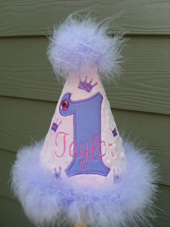 Personalized Pink and Purple Princess Birthday Party Hat