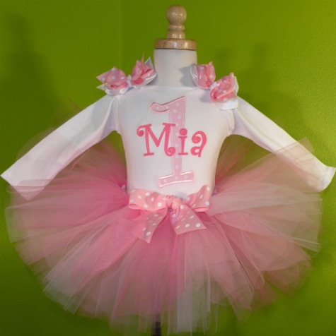 Personalized Pink and White Polka Dot Birthday Tutu Outfit