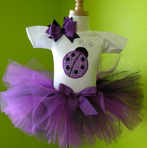 Personalized Purple Glitter Ladybug Tutu Set