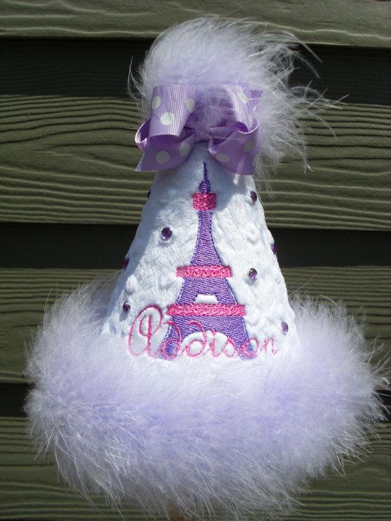 Personalized White and Purple Effiel Tower Birthday Party Hats