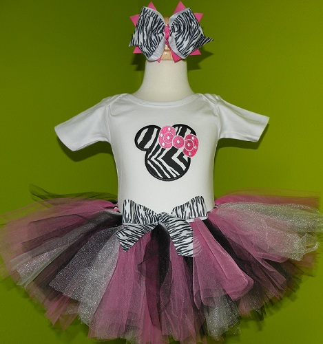 Personalized Zebra Print Minnie Birthday Tutu Outfits