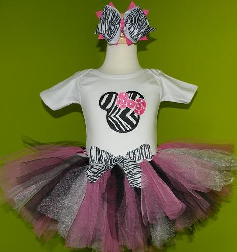 Personalized Zebra Print Minnie Birthday Tutu Outfits