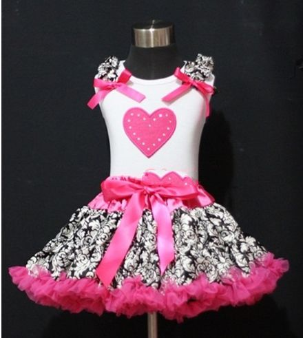 Pink and Black Damask Print Heart Pettiskirt Outfit