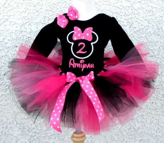 Personalized Pink And Black Bumble Gum Girl Mouse Birthday Outfit For Girls