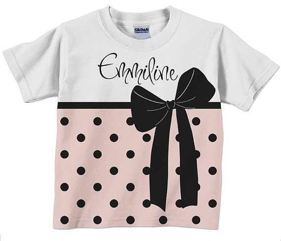 Girls Personalized Pink and Black Polka Dot T Shirt