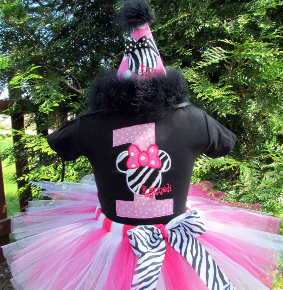 Personalized Pink, White and Black Zebra Minnie Birthday Tutu Outfits
