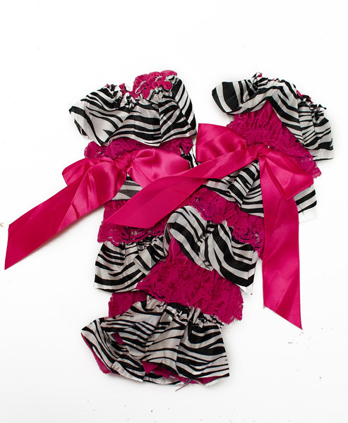 Black and Pink Zebra Print Lace Ruffled Legwarmers