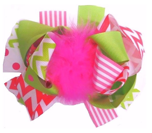 Pink and Green Zig Zag Ruffled Legwarmers Plus Matching Hair Bow