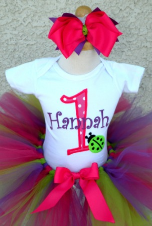 Personalized Hot Pink Ladybug Birthday Tutu Outfit