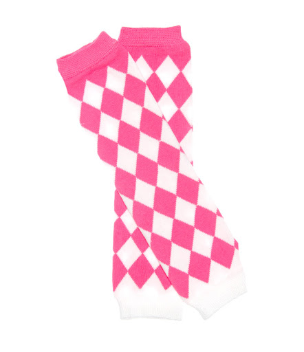 Pink and White Diamond Print Girls Leg Warmers