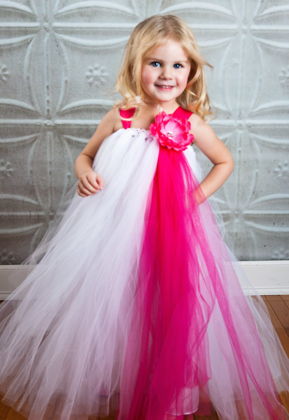 Pink and White Flower Girl Tutu Dress
