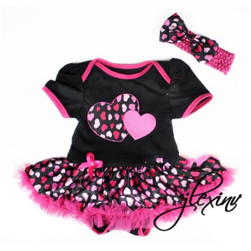 2 Piece Black and Pink Heart Print Baby Tutu Dress Outfit