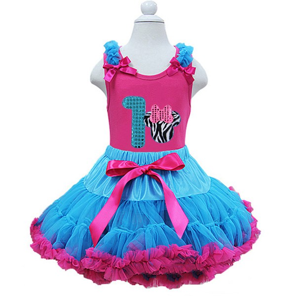 Pink and Blue Minnie Birthday Tutu Outfit Ages 1-6