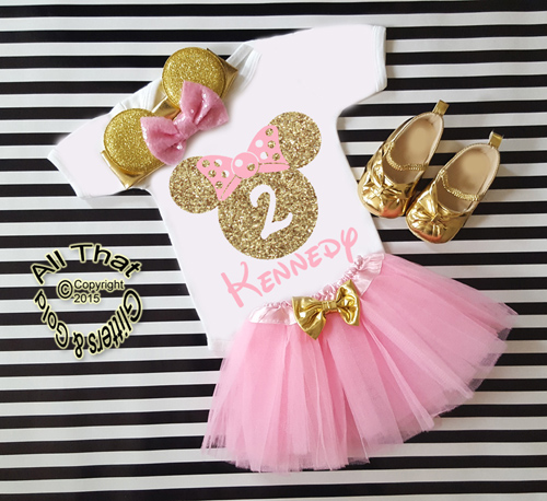 3pc Pink and Gold Glitter Personalized Minnie Inspired Birthday Tutu Outfit Ages 1-6