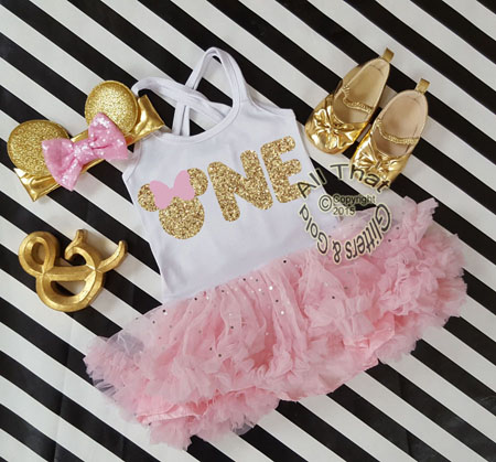2pc Pink and Gold Glitter Minnie Inspired Tutu Dress For Toddlers Ages 1-2