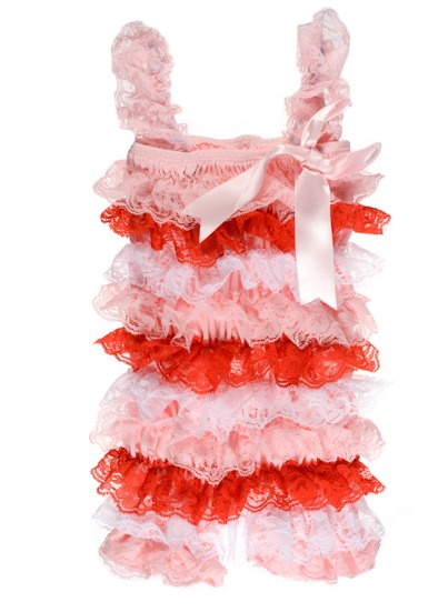 Pink, Red and White Lace Pettiromper