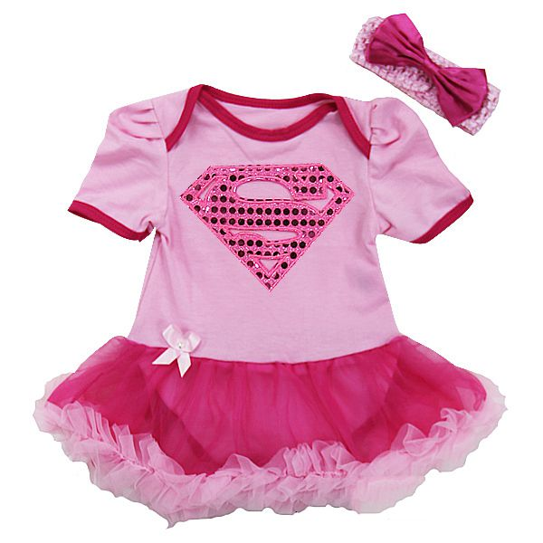 Pink Sequin Super Girl 2 Piece Onesie Baby Tutu Outfit  sc 1 st  Tutu Sweet Shop & Pink Sequin Supergirl Super Girl Infant Newborn Baby Girl Tutu Outfits