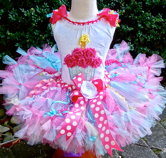 Pink and Aqua Cupcake Birthday Tutu Set