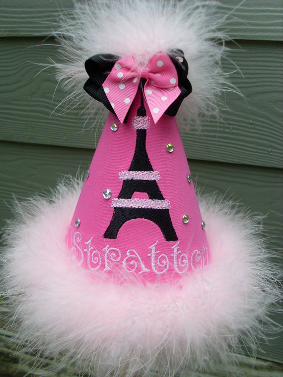 Personalized Pink and Black Effiel Tower Birthday Party Hat