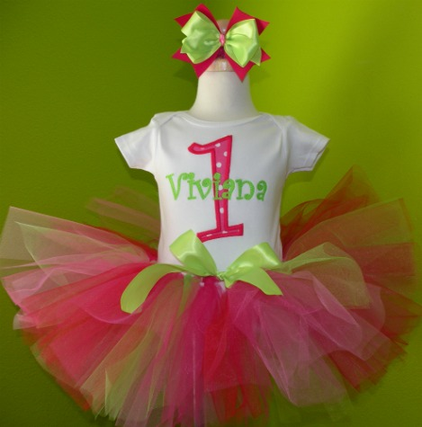 Personalized Pink and Green 1st Birthday Tutu Outfit