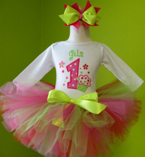 Personalized Pink and Green Cupcake Birthday Tutu Outfit