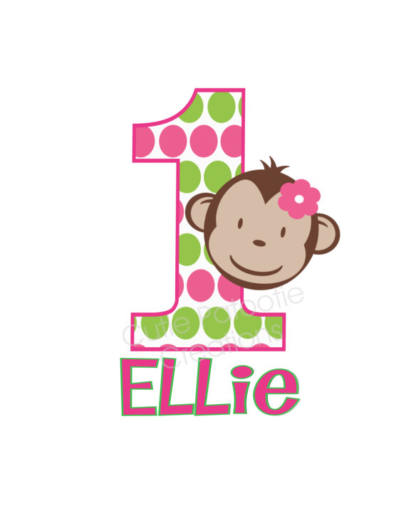 Pink and Green Polka Dot Monkey Personalized 1st Birthday Shirts