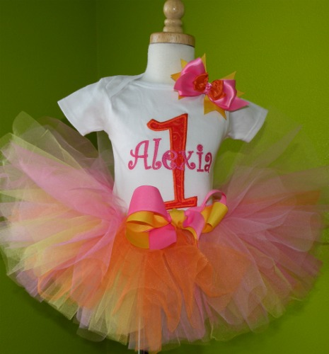 Personalized Pink and Orange Birthday Tutu Outfit