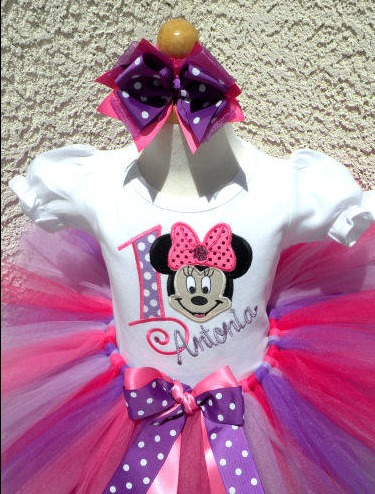 Custom Pink and Purple Girl Mouse Birthday Outfit For Girls