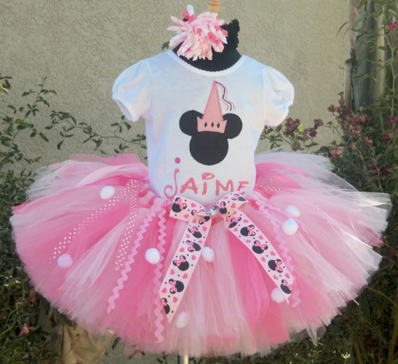 Personalized Pink and White Minnie Birthday Tutu Set
