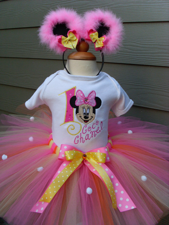 Personalized Pink and Yellow Minnie Birthday Tutu Outfit