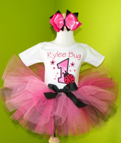 Personalized Hot Pink and Black Ladybug Birthday Tutu Outfit