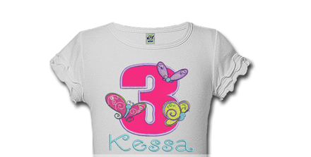 Pink Butterflies Personalized Girls Birthday Shirts