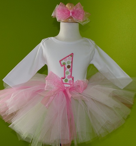 Personalized Pink Polka Dot Birthday Tutu Outfit